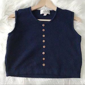 Vintage Blue Sweater Crop Top